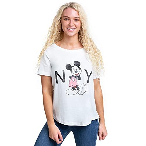 Disney Mickey Mouse New York T-Shirt, Bianco (Bianco Bianco), M Donna