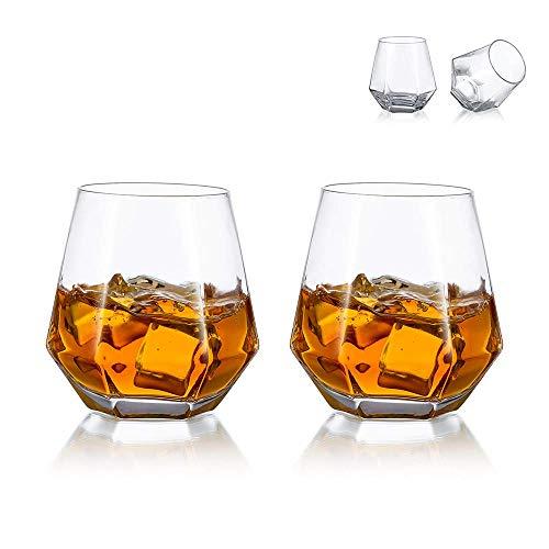 Glasseam Bicchieri da Whisky Diamond Set di 2 Bicchieri da Whisky Inclinati 300ml Bicchiere da Whisky Look Moderno per Uomo, Donna, papà, Marito, Amici, Bicchieri per Bourbon/Rum/Bar Tumbler