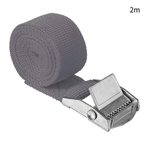 Ganquer Zurrgurt für Gepäck am Schnalle, Auto-Innenraum, Aufbewahrung, stabiles Nylon, praktisches Zubehör, tragbar (1 mgrün), nicht null, grau, 2 m