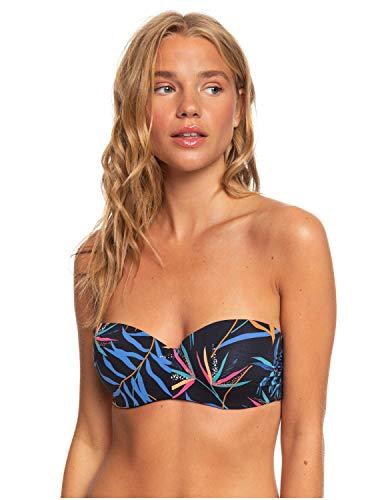 Roxy Damen Lahaina Bay - Vorgeformtes Bandeau-Bikinioberteil für Frauen Separate Top, Anthracite wild Leaves s, S