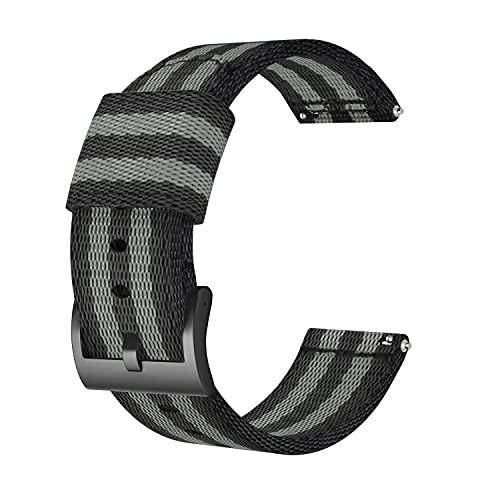 SOUWILA Cinturini Orologi Nylon Orologi Bracciale 18/20/22/24mm Cinturino Orologio Acciaio Fibbia dell'Acciaio Inossidabile Spazzolato (24mm, Black Gray)
