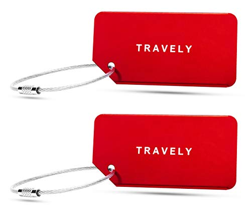 Travely - Premium Kofferanhänger - extra sichere und auffällige Anhänger für Dein Gepäck - inklusive Namensschild - 2er Set - Rot