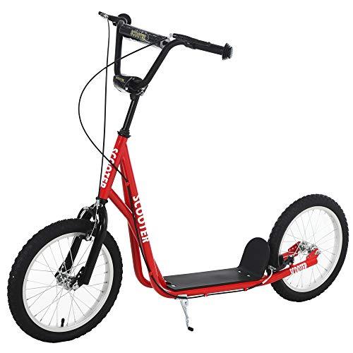 HOMCOM Scooter Patinete para Niños Mayores de 5 Años con Manillar Ajustable en Altura 2 Neumáticos de Caucho Inflable con Doble Freno Carga 100 kg 139x58x90-96 cm Rojo