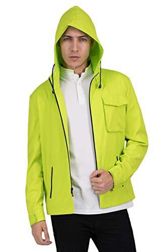 LMENTAL - Chamarra para Hombre Tipo Cazadora con Capucha Verde - Talla G