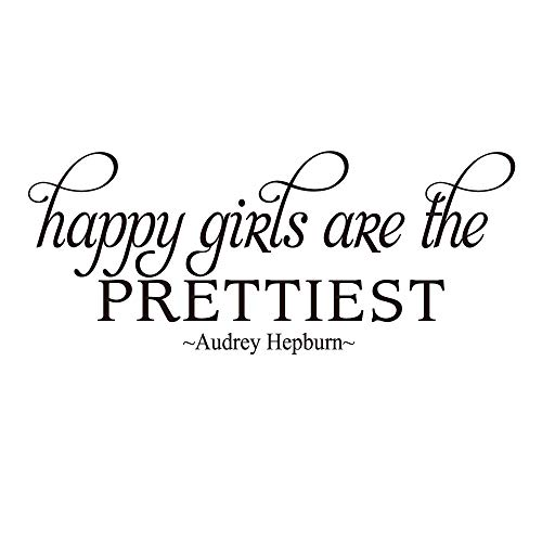 Happy Girls are The Prettiest Vinyl Wall Decal Inspirational Quotes Lettering Faith Motto Art Letters Girls Room Décor
