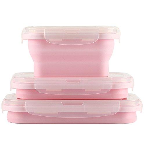 Zusammenklappbare Lebensmittel-Lagerbehälter aus Silikon, 3er-Pack wiederverwendbare BPA-Faltschachtel für Mittagessen, gefrier- und ofensicher (Pink)