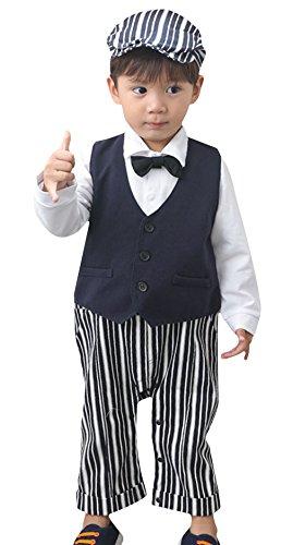 DEMU 3-delig baby jongen kledingset rompers + vest + hoed vlinderdas das pak gentleman doop huwelijk lange mouwen 90 donkerblauw