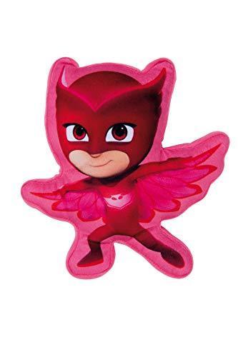 familie24 PJ Masks 3D Kissen Velboa Plüsch Kinderkissen Kuschelkissen Motivkissen Dekokissen Kopfkissen Catboy Owlette Gecko (rot)