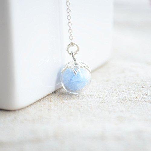 Blauer Stein Im Dunkeln Leuchten 10mm Glas Kugel 925 Sterling Silber Halsketten mit Anhänger