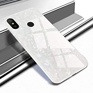 Shell Glossy Soft Frame Hard Back Tempered Glass Protective Case for Redmi Note 6 Pro - Xiaomi Cases Covers Xiaomi Note 6 Pro Cases - (white)