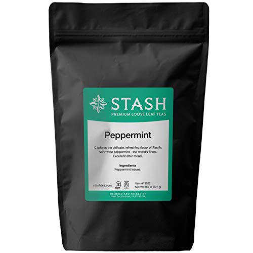 Stash Tea Peppermint Herbal Loose Leaf Tea 8 Ounce Pouch (.50 lb.) Loose Leaf Premium Herbal Tea for Use with Tea Infusers Tea Strainers or Teapots, Drink Hot or Iced, Sweetened or Plain
