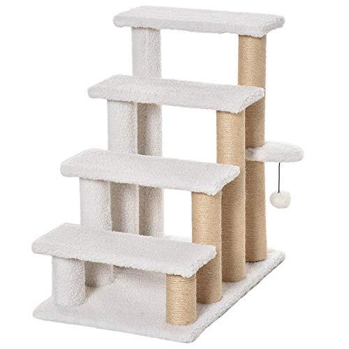 Pawhut Haustiertreppe mit Kratzbaum Ball 4-stufige Katzentreppe Hundetreppe Tiertreppe Spanplatte Plüsch Jute Weiß 60 x 40 x 64 cm