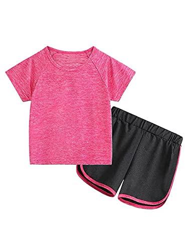 renvena Kinder Trainingsanzug Sommer Mädchen Jungen Sportanzug Kontrast Neon Schwarz Zweifarbig Kurz Jogginganzug Sportanzug 5-12 Jahre Rot 122-128