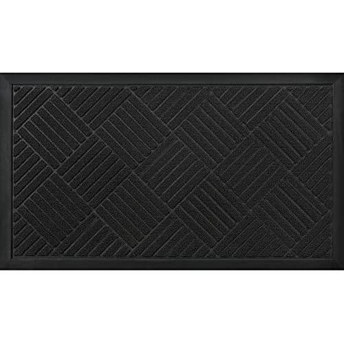 Mibao Felpudo de Entrada,Alfombrilla raspadora para Zapatos de Perfil bajo Alfombrilla de Entrada para Alfombrilla de Piso Exterior para Puerta Delantera 45 cm x 75 cm, Negro