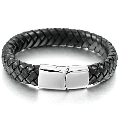 Adisaer Edelstahl Armbänder Herren Armreifen Charms Armband Silber Schwarz Geflochten Leder Armband 9.0 inches