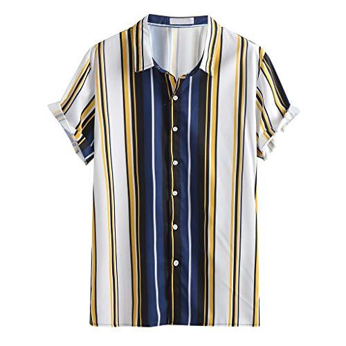BBring Hawaiihemd für Herren Kontrastfarben Gestreift M Weiß 792519 (Funky hawaiihemd Hawaiibluse 3D Druck blumenhemd freizeithemd Freizeitshirt Hawaii-Print Aloha Shirt)