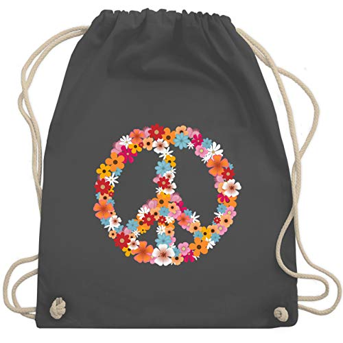 Shirtracer Statement - Peace Flower Power - Unisize - Dunkelgrau - hippie turnbeutel - WM110 - Turnbeutel und Stoffbeutel aus Baumwolle