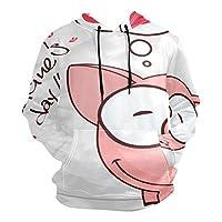ピンクハートかわいいブタパーカートレーナーフーデッドアスレチックスウェット3Dプリントガールズボーイズメンズ(ヘルスファブリック)