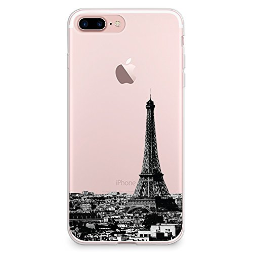 Funda iPhone 7 Plus Case Funda, Case FundasByLorraine Paris City View Clear Transparent Case Funda Eiffel Tower TPU Soft Gel Protective Cover for Apple Funda iPhone 7 Plus (A15)