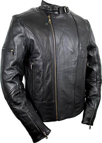 Motorrad Lederjacke, Biker Herren Lederjacke (3XL)