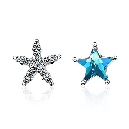 Pendientes de botón de plata esterlina para mujer cuentas de fiesta cristal azul pendiente de estrella asimétrico joyería