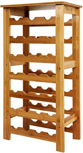 Dripex Weinregal Bambus Weinflaschenregal 7 Ebenen Flaschenregal Holz für Keller Küche 27 Flaschen 0,75 und 1 Liter 94 x 29 x 47CM