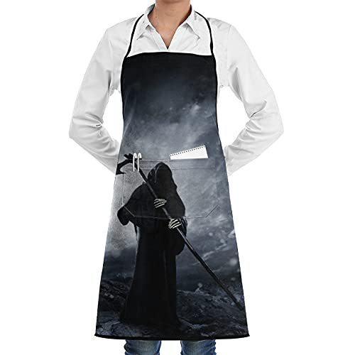 COVASA Kitchen Cooking Apron,The Dead Grim Reaper Gothic Scary Skull Ghost With Reaper's Scythe Halloween Night,Waterproof Anti-Greasy Chef Selvedge Aprons Bib with Pockets Baking/BBQ Gardening