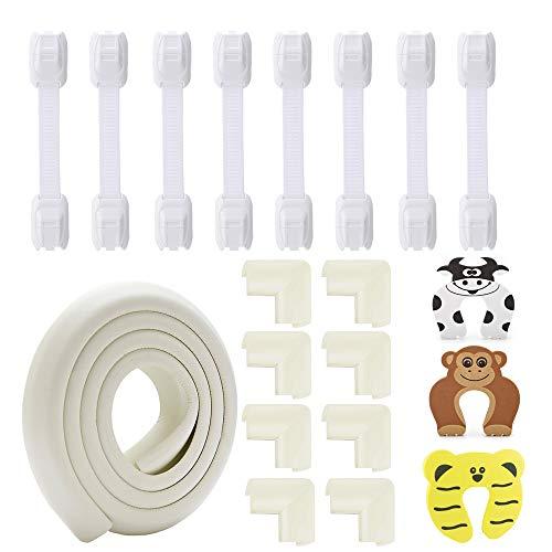 Baby Sicherheitsset Kinder Sicherungsset 8x Schrankschloss/ 3x Klemmschutz/ 1x 2m Länge Kantenschutz/ 8x Eckenschutz