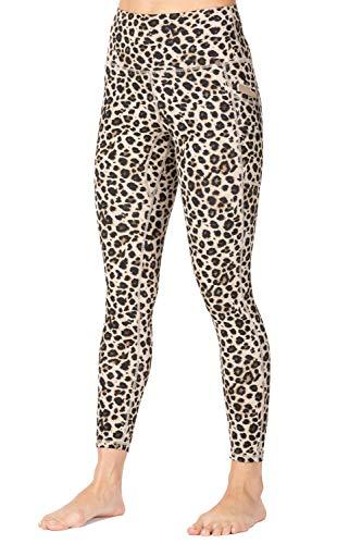 Wirezoll Leggings Damen 7/8, High Waist und Blickdichte Sport Hose mit Taschen,Leopard Klassisch,38