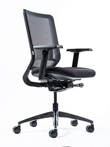 Yaasa Chair Ergonomischer Bürostuhl, mit Einstellung der Sitztiefe, 3D-Armlehnen, Lordosenstütze, Traglast 130kg, Schwarz