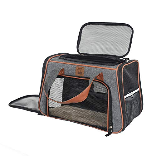 Purrpy Cat Carrier for Small Cats Under 25, Plenty of Ventilation Airline Approved Pet Carrier for Small Dogs Chihuahua Pomeranian Corgi Poodle