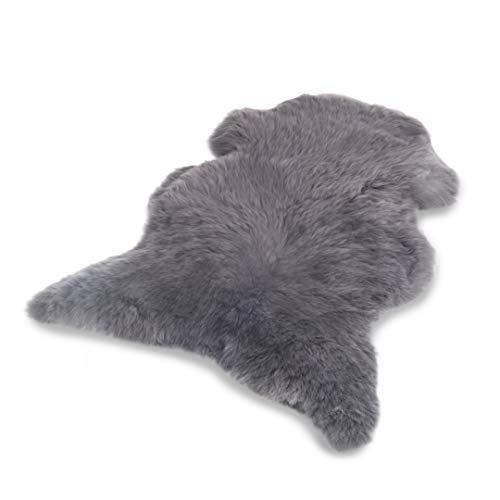 Schafshaut Store: 100% Schaffell/Lammfell. Weich und flauschig ideal für das Wohnzimmer, unter dem Kamin, Schlafzimmer. Eine originelle Ergänzung zu jedem Interieur. (Grau, XXL: 120-130 cm)