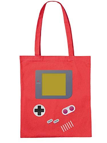 clothinx Handheld Konsole im Vintage 90er Jahre Retro Print   Gamer   Nerd   Geek   Computer Freak   LAN-Party   Stoff-Tasche Rot