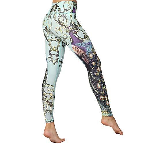 HAPYWER Yoga Leggings Damen High Waist Gym Sport Leggings Tummy Control Yoga Hosen Running Workout Kompressionsstrumpfhose Stretch Trainingshose mit Aufdruck(Pfauengrün,M)