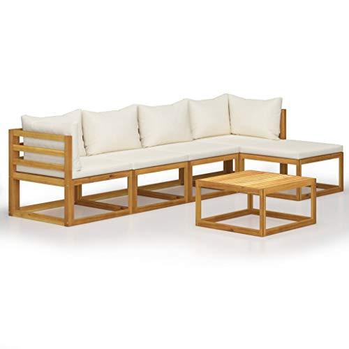 vidaXL Madera Maciza de Acacia Muebles de Jardín 6 Piezas Cojines Mobiliario Hogar Exterior Terraza Sofá Asiento Mesa Suave con Respaldo Crema