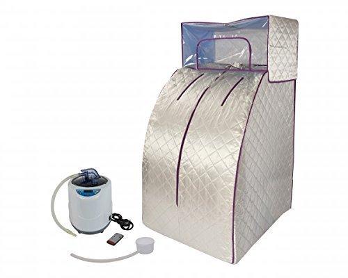 chi-enterprise Dampfsauna Deluxe Svedana I Komfort-Sauna mit drahtloser Fernbedienung und elektr. geregeltem Dampferzeuger I 2 Ltr. 1000 Watt I Portable Sitzsauna mit abnehmbarer Kopfhaube