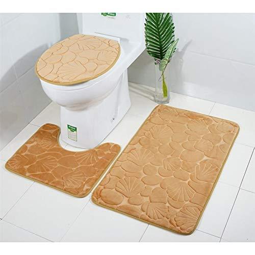 ZHENXIANGA 3-delige badmat met reliëf set zacht water absorberend comfortabel bad tapijten toiletbril deksel