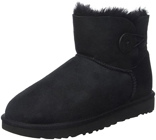 UGG Female Mini Bailey Button II Classic Boot, Black, 5 (UK)