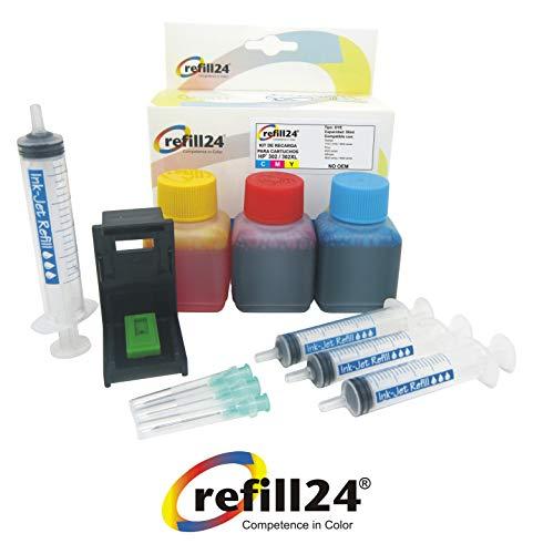 Kit de Recarga para Cartuchos de Tinta HP 302, 302 XL Color, Incluye Clip y Accesorios +...
