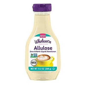 Wholesome Sweeteners Allulose Syrup Zero Calorie Liquid Sweetener No Glycemic Impact Non-GMO Keto Friendly 11.5 Oz