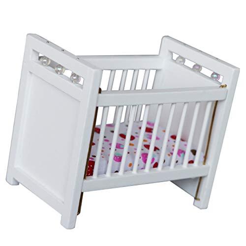 STOBOK Casa de muñecas, cama infantil, mini color blanco, cama en miniatura, muebles, juguete 1:12, casa de muñecas, dormitorio, salón, accesorios, decoración de micropaisajes
