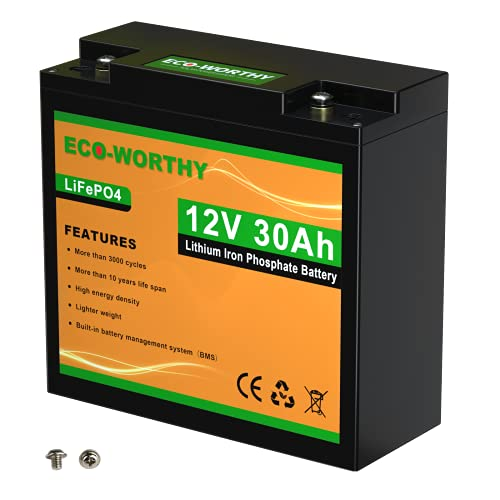 ECO-WORTHY 12V 30Ah Rechargeable LiFePO4 Lithium Iron Phosphate Battery with over 3000 Times Deep...