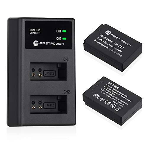 FirstPower 2-Pack LP-E12 Battery and Dual USB Charger for Canon SX70 HS, Rebel SL1, EOS M50, EOS M, EOS M2, EOS M10, EOS M100 Digital Cameras