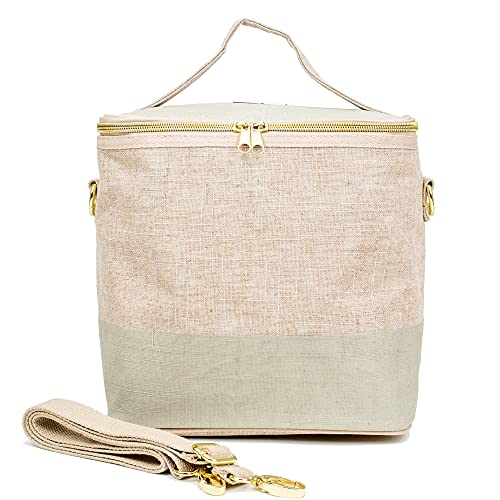 SoYoung Lunch Poche - Adult Lunch, Raw Linen, Eco-Friendly, Modern and Easy to Clean - Linen-Cement