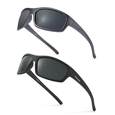 POLARKING 2 PACK Polarized Sport Sunglasses for Men Matte Finish Sun glasses Mirror Lens UV Blocking Gray&Black