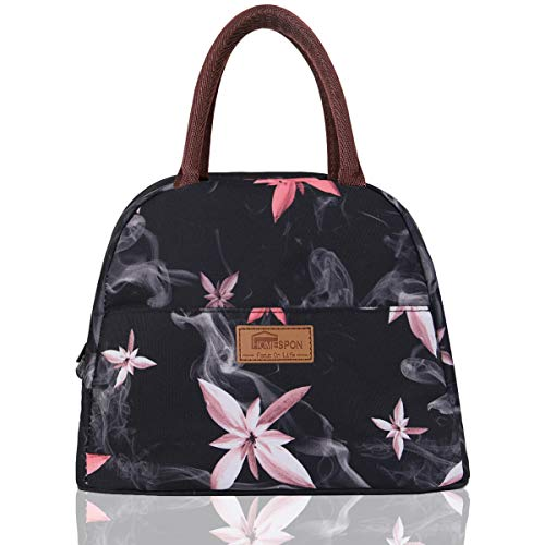 HOMESPON Lunch Bag Insulated Tote Bag Lunch Box Resuable Cooler Bag Lunch container Waterproof Lunch holder for Women/Men (pink flowers)