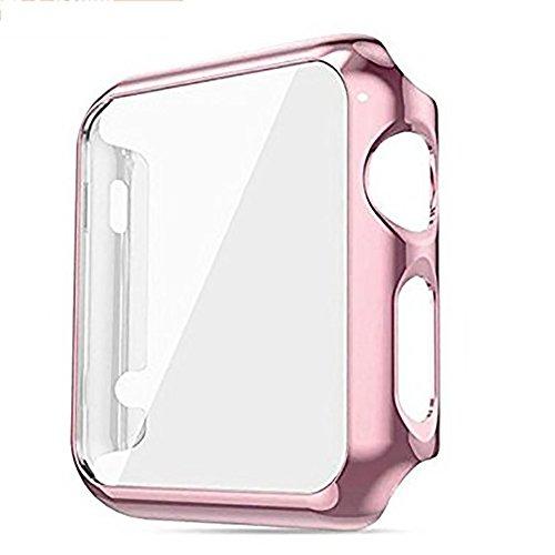VOIMAKAS Carcasa para Apple Watch Series 1, Cobertura Completa, Delgada, Plisada, galvanizado, Protector de Pantalla, Parachoques Protector para Apple Watch, 42 mm, Rose Gold