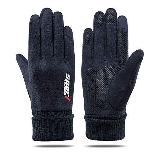 Guantes de pantalla táctil Unisex Adulto,Guantes cálidos de lana de cuero,guantes cálidos con pantalla táctil para montar al aire libre-azul masculino,Bicicleta Correr Aire Libre Guantes Calientes