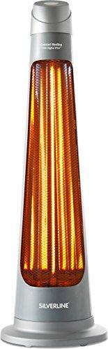 Silverline S-26142 Terrassenheizer, elektrisch, Fernbedienung, 1200W, IPX4,digital, Grau