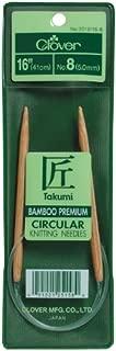 Clover 3016/16-08 Takumi Bamboo Circular 16-Inch Knitting Needles, Size 8